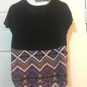 Express Black Purple Aztec Print M Shirt Short